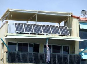 Last week I took this photo of solar panels mounted on the balcony railing of an apartment building at Dicky Beach – they've been rather creative on the placement, and I wondered whether the panels are wired to the whole building or to one apartment.