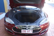 "Model S has a ""frunk"" front trunk, and a huge boot as well. Everything about this car is big, big, big."