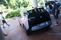 The BMW i3s had driven from Brisbane, so did a recharge from a power point while at WED. The cord is taped down for safety.