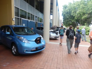 Two Nissan Leafs in view, the seven cars were in a long row.