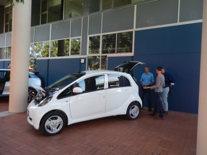 Kurt showing a few people the I-Miev, which was one of the earliest types of EVs available for sale in Australia this century.