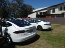 The owner uses the solar system to supply power for both the house and his Tesla Model S electric car. A few other Model S cars were on display that day.