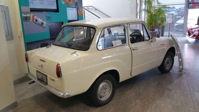 No, not the car we took for a test drive! A 1963 Toyota on display at the showroom - super-cute, but cars certainly have come a long way in features, safety and comfort.